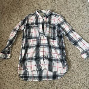 Gap designed and crafted plaid black pink flannel